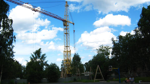 Crane Working At House Building Time Lapse stock footage