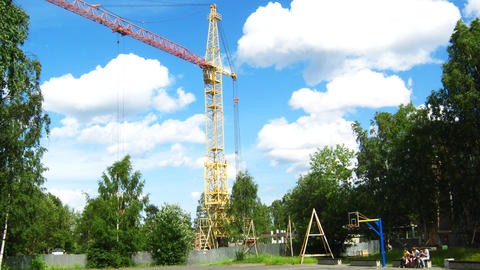 Crane working at house building time lapse Stock Video Footage