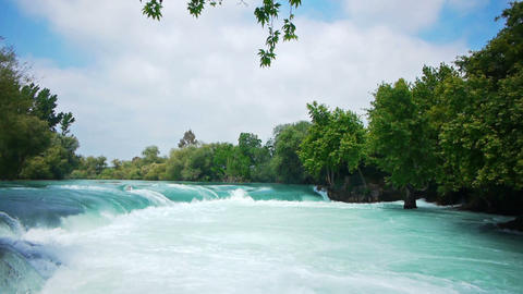 Manavgat waterfall near Side in Turkey Stock Video Footage