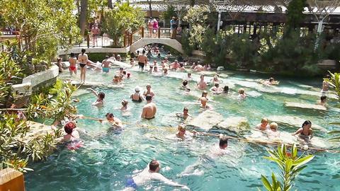 People swim in Cleopatra pools near Pamukkale, Tur Footage
