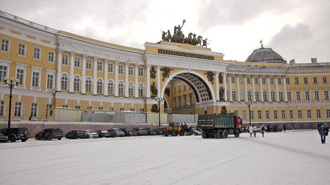 Cleaning Dvortsovaya square from snow, St. Petersb Stock Video Footage