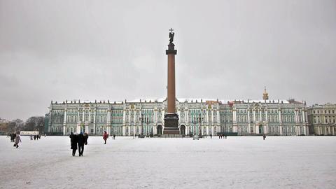 Hermitage museum on Dvortsovaya square, St. Peters Footage