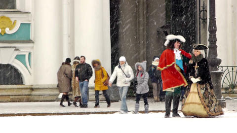 Emperor Peter the Great on Dvortsovaya square, St. Stock Video Footage
