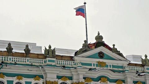 Russian flag on Hermitage museum, Dvortsovaya squa Footage