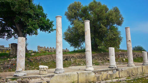 Ancient ruins in Side, Turkey Stock Video Footage