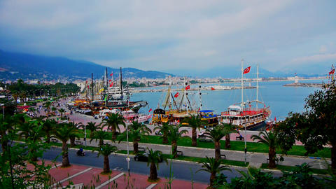 Panoramic view to Alanya, Turkey Stock Video Footage