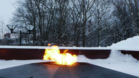 Eternal fire on the monument to unknown soldier Stock Video Footage