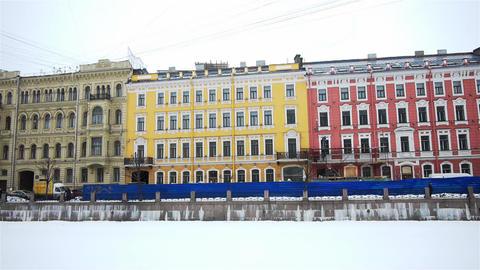 Fontanka river quay in Saint Petersburg, Russia Stock Video Footage