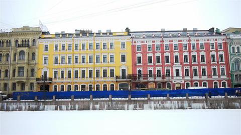 Fontanka river quay in Saint Petersburg, Russia Footage