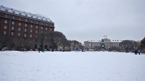 Saint Icaas square in St.Petersburg, Russia Footage