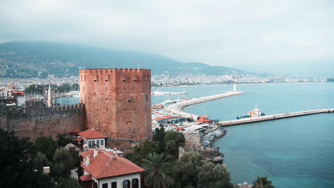 Kizil Kule - Red Tower, the symbol of Alanya, Turk Footage