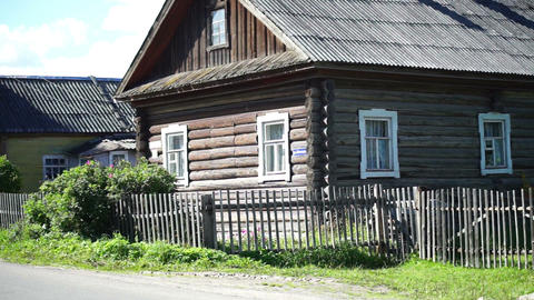 Old house in russian village Stock Video Footage