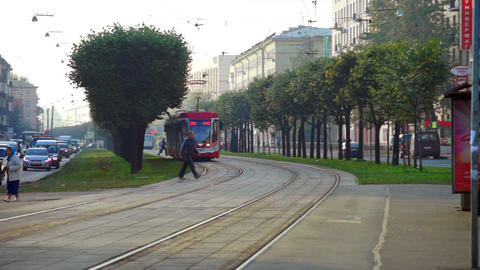 Tram On The Street Of Saint Petersburg, Russia stock footage