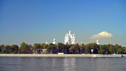 Smolny cathedral in Saint Petersburg, Russia Stock Video Footage