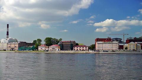 Neva river in Saint Petersburg, Russia Stock Video Footage