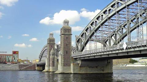 Bolsheokhtinsky bridge on Neva river in Saint Pete Stock Video Footage