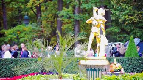 Golden fountain in Petergof neat Sain Petersburg, Stock Video Footage