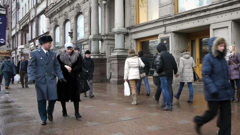 Pedestrians on the Nevsky Prospekt in St. Petersbu Stock Video Footage