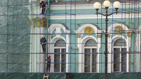 Workers renovating Hermitage building Footage