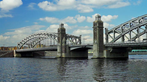 Bolsheokhtinsky bridge on Neva river in Saint Pete Stock Video Footage