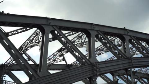 Helicopter flying over Bolsheohtinsky bridge in St Stock Video Footage
