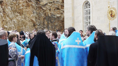 Procession in orthodoxal Gorney convent in Ein Ker Stock Video Footage