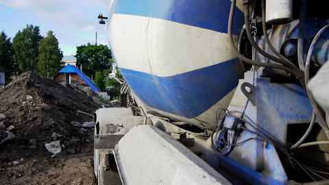 Building site with working concrete mixer Stock Video Footage