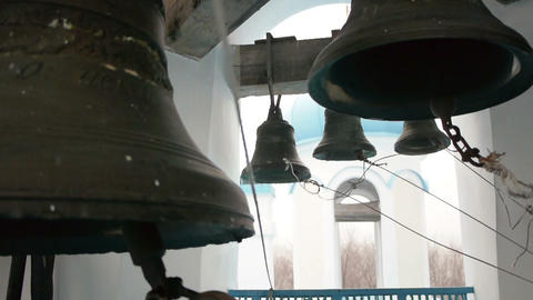 Bells Striking By Bell Ringer In Monastery stock footage