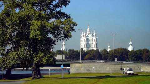 Viaduct with cars near Smolny Cathedral, Saint Pet Stock Video Footage