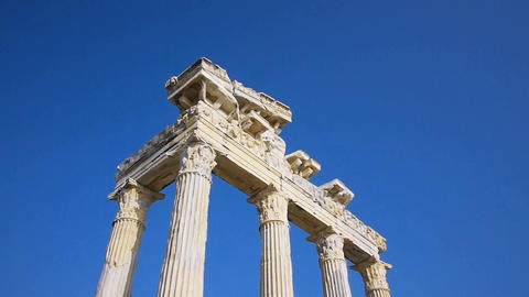 Temple of Apollo ruins in Side, Turkey Stock Video Footage