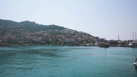 Ships in bay of Alanya, Turkey Stock Video Footage