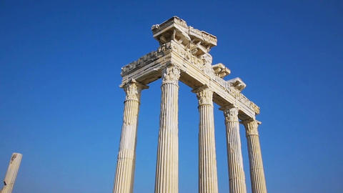 Temple of Apollo ruins' columns in Side Stock Video Footage