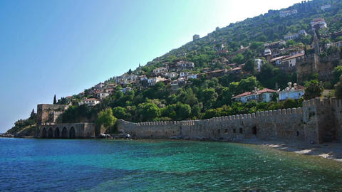 Old fortress wall on sea shore in Alanya, Turkey Stock Video Footage