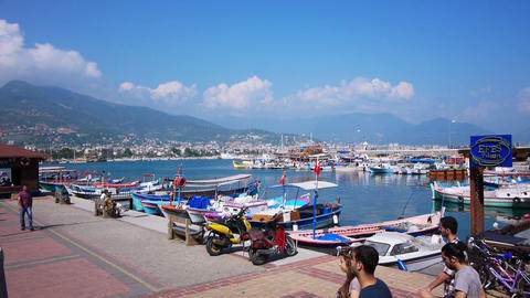 Ships and boats at bay in Alanya, Turkey Stock Video Footage