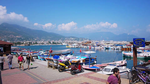 Ships and boats at bay in Alanya, Turkey Footage