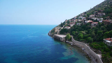 Light-colored houses on Mediterranean sea shore in Footage