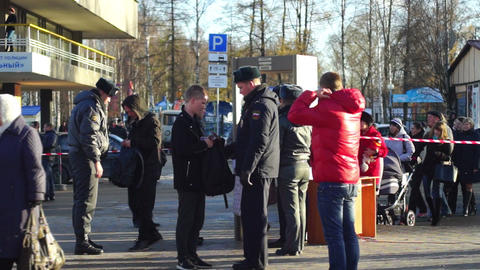 Policemen checking visitors of Sochi2014 Olimpic t Stock Video Footage