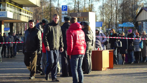 Policemen checking visitors of Sochi2014 Olimpic t Footage
