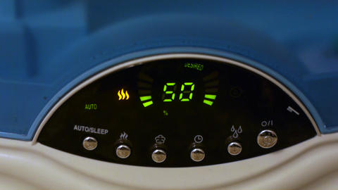 Air humidifier makes wet steam Stock Video Footage