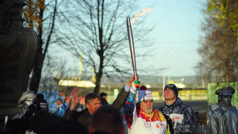 Lighting up the torch during Sochi2014 Olympic tor Footage