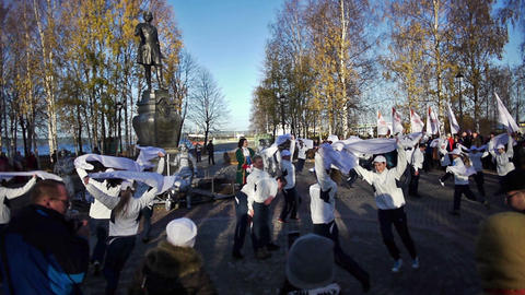 Dancers action during official song of the Sochi20 Stock Video Footage