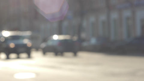 City street traffic defocused view slow motion 60  Footage