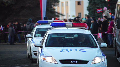 Patrol police cars on Sochi2014 Olympic torch rela Footage