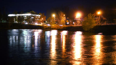 Reflection of evening lights in water, Petrozavods Stock Video Footage