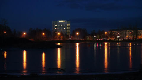 River embankment in Petrozavodsk, Russia Stock Video Footage