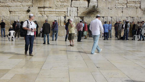 Many tourists and true believers near Western Wall Stock Video Footage