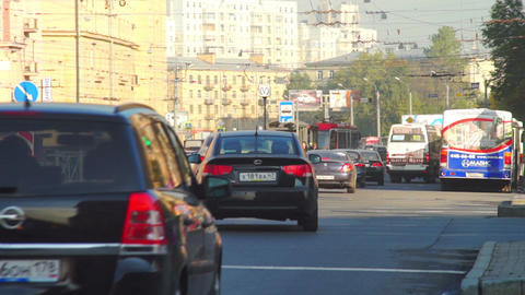 Day traffic with bus and cars in Saint Petersburg, Footage