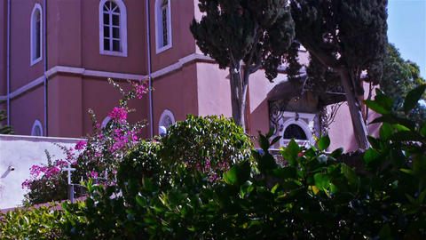 Beautiful flowers near Saint Peter's orthodox chur Stock Video Footage