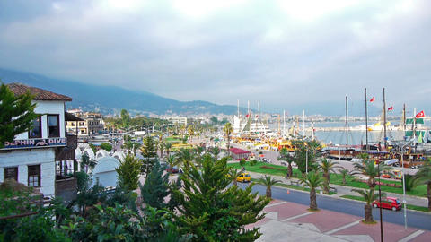 Beautiful view of resort city with boats in bay, A Footage