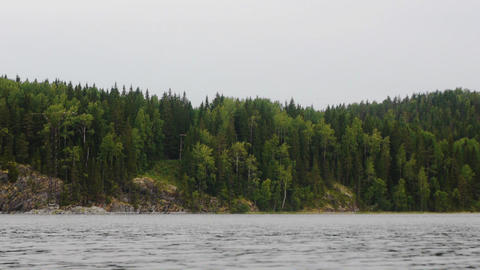 Panorama of Ladoga lake in northern Russia, low an Stock Video Footage
